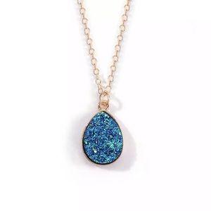 Gold Filled Blue Druzy Drop Necklace